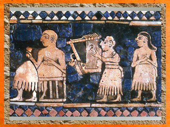 D'après une lyre, Étendard d'Ur, détail mosaïque de La Paix, vers 2600-2500 avjc, période des dynasties archaïques sumériennes, Ur, Irak actuel, Mésopotamie. (Marsailly/Blogostelle)