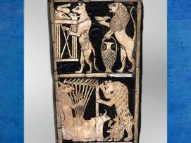 D'après un renard harpiste, détail du panneau incrusté d'une lyre, tombes royales d'Ur, vers 2600-2500 avjc, Irak actuel, Mésopotamie. (Marsailly/Blogostelle)