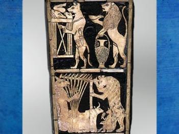 D'après un renard harpiste, détail du panneau incrusté de la lyre dite du roi, sépulture de la reine Puabi,tombes royales d'Ur, vers 2600-2500 avjc, période des dynasties archaïques sumériennes, Ur, Irak actuel, Mésopotamie. (Marsailly/Blogostelle)