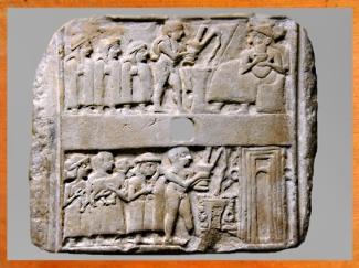 D'après une scène de libation et de sacrifice devant le temple, Ur, vers 2600-2500 avjc, période des dynasties archaïques sumériennes, Irak actuel, Mésopotamie. (Marsailly/Blogostelle)