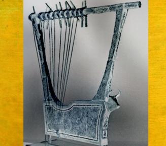 D'après une harpe en argent, vers 2600 avjc, tombes royales d'Ur, période des dynasties archaïques sumériennes, Ur, Irak actuel, Mésopotamie. (Marsailly/Blogostelle)