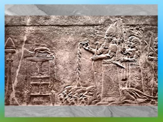 D'après le souverain Assurbanipal devant l'autel, VIIIe siècle avjc, art Assyrien. (Marsailly/Blogostelle)