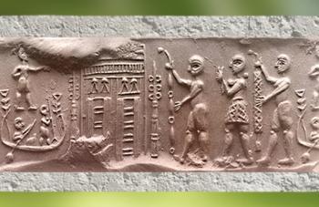 D'après une cérémonie de culte, bateau, temple, procession, empreinte de sceau, Shibaniba, Tell Bill, vers 3000 ans avjc, Irak actuel, Mésopotamie. (Marsailly/Blogostelle)