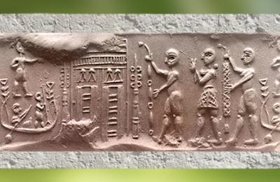 D'après une cérémonie de culte,bateau, temple, procession, empreinte de sceau, Shibaniba, Tell Bill, vers 3000 ans avjc, Irak actuel, Mésopotamie. (Marsailly/Blogostelle)
