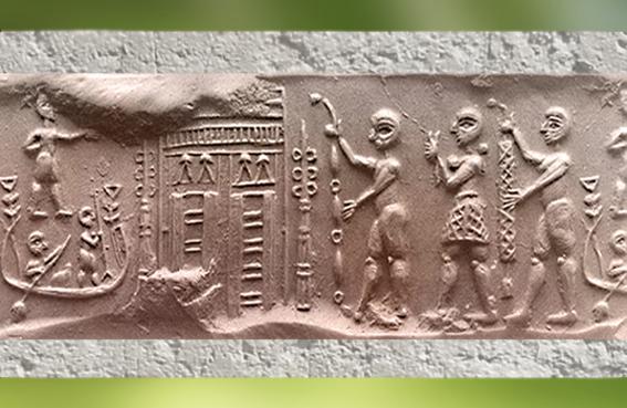 D'après une cérémonie de culte, empreinte de sceau, vers 3000 ans avjc Shibaniba, Tell Bill, Irak actuel, Mésopotamie. (Marsailly/Blogostelle)