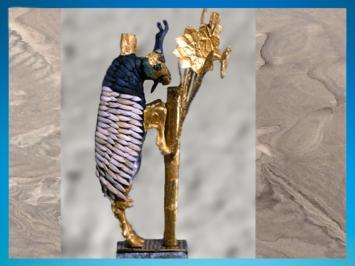 D'après le Grand Bouquetin d'Ur, tombes royales d'Ur, vers 2600-2500 avjc, période des dynasties archaïques sumériennes, Ur, actuel Irak, Mésopotamie. (Marsailly/Blogostelle)