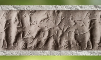 D'après une scène champêtre et bosquet, empreinte de sceau, période de l'empire d'Agadé (Akkad), fin du IIIe millénaire avjc, Mésopotamie. (Marsailly/Blogostelle)