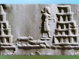 D'après une image de la ziggurat de Babylone, supposée reconstruite par Nabuchodonosor II au VIe avjc, bas-relief, détail, Irak actuel, Mésopotamie. (Marsailly/Blogostelle)
