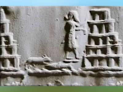 D'après la ziggurat de Babylone, supposée reconstruite par Nabuchodonosor II, au VIe avjc, bas-relief, détail, Irak actuel, Mésopotamie. (Marsailly/Blogostelle)