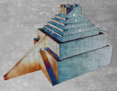 D'après une proposition de reconstitution de la ziggurat de Babylone, Mésopotamie. (Marsailly/Blogostelle)