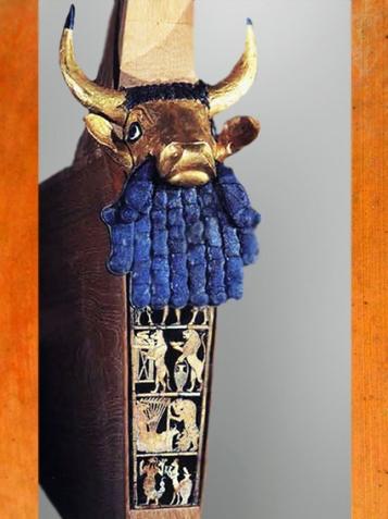D'aprèsla lyre dite du roi, sépulture de la reine Puabi,tombes royales d'Ur, vers 2600-2500 avjc, période des dynasties archaïques sumériennes, Ur, Irak actuel, Mésopotamie. (Marsailly/Blogostelle)