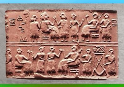 D'après une scène de Banquet, sceau de la reine Puabi, tombes royales d'Ur, vers 2600-2500 avjc, Ur, période des dynasties archaïques sumériennes, Ur,actuel Irak, Mésopotamie. (Marsailly/Blogostelle)