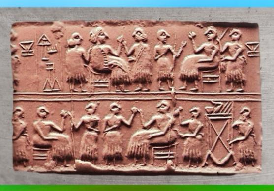D'après une scène de Banquet sceau de la reine Puabi, tombes d'Ur, vers 2600-2500 avjc, Ur, Irak. (Marsailly/Blogostelle)