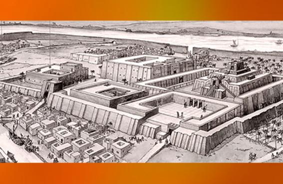 D'après des reconstitutions de la cité d'Ur, fondée au IIIe millénaire avjc, dynasties archaïques sumériennes, Ur,actuel Irak, Mésopotamie. (Marsailly/Blogostelle)