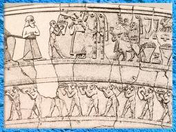 D'après un vase à libations,scène de procession, culte à Inanna, albâtre, détail, Uruk, vers 3500-3000 ans avjc, Irak actuel. (Marsailly/Blogostelle)