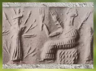 D'après la grande Déesse aux Épis et un parèdre, cylindre serpentine, période d'Agadé, fin IIIe millénaire avjc, Mésopotamie. (Marsailly/Blogostelle)
