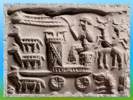 D'après un char royal ou cultuel, empreinte de sceau cylindrique, vers 1800 avjc, art Assyrien. (Marsailly/Blogostelle)