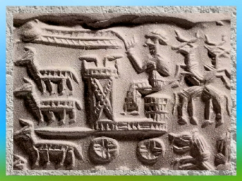D'après un char royal ou cultuel, empreinte de sceau-cylindre, vers 1800 avjc, époque Assyrienne, Orient ancien. (Marsailly/Blogostelle)