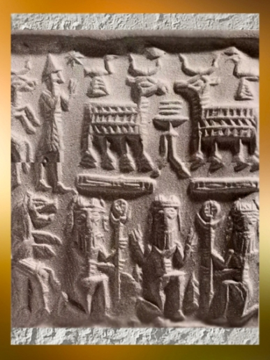 D'après des personnages mythiques et capridés, empreinte de sceau, vers 1800 avjc, Assyrie, Orient ancien.(Marsailly/Blogostelle)