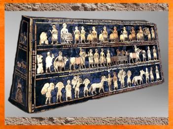 D'après l'Étendard d'Ur, La Paix, mosaïque de coquille, vers 2600-2500 avjc, période des dynasties archaïques sumériennes, actuel Irak, Mésopotamie. (Marsailly/Blogostelle)