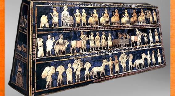 D'après l'Étendard d'Ur, La Paix, mosaïque de coquille, vers 2600-2500 avjc,période des dynasties archaïques sumériennes, actuel Irak, Mésopotamie. (Marsailly/Blogostelle)