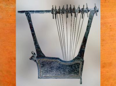 D'aprèsune harpe-taureau, argent, sépulture de la reine Puabi,tombes royales d'Ur,vers 2500 avjc, période des dynasties archaïques sumériennes,Ur, actuel Irak, Mésopotamie. (Marsailly/Blogostelle)