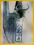 D'après une harpe en argent, arbre sacré et lions chasseurs, vers 2600 avjc, tombes d'Ur, Irak actuel, Mésopotamie. (Marsailly/Blogostelle)