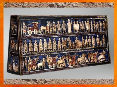 D'après l'Étendard d'Ur, La Guerre, mosaïque de coquille, vers 2600-2500 avjc,Ur, période des dynasties archaïques sumériennes, actuel Irak, Mésopotamie. (Marsailly/Blogostelle)