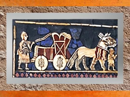 D'aprèsl'Étendard d'Ur,La Guerre, un char, détail, mosaïque de coquille, vers 2600-2500 avjc, période des dynasties archaïques sumériennes, Ur,actuel Irak, Mésopotamie. (Marsailly/Blogostelle)