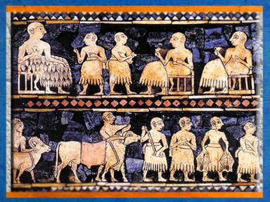 D'après l'Étendard d'Ur, La Paix,détail, mosaïque de coquille, vers 2600-2500 avjc, période des dynasties archaïques sumériennes, Ur,actuel Irak, Mésopotamie. (Marsailly/Blogostelle)