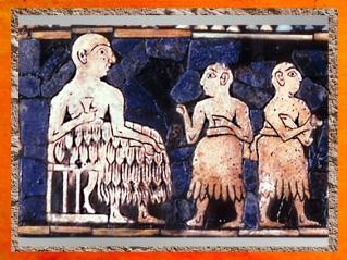 D'après un Banquet, Étendard d'Ur, mosaïque de coquille, détail, , tombes royales d'Ur, vers 2600-2500 avjc, période des dynasties archaïques sumériennes, Ur Irak actuel, Mésopotamie. (Marsailly/Blogostelle)