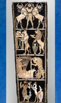 D'après la lyre dite du Roi et son décor incrusté, Maître des Animaux, tombes royales d'Ur, vers 2600-2500 avjc, période des dynasties archaïques sumériennes, Ur, Irak actuel, Mésopotamie. (Marsailly/Blogostelle)