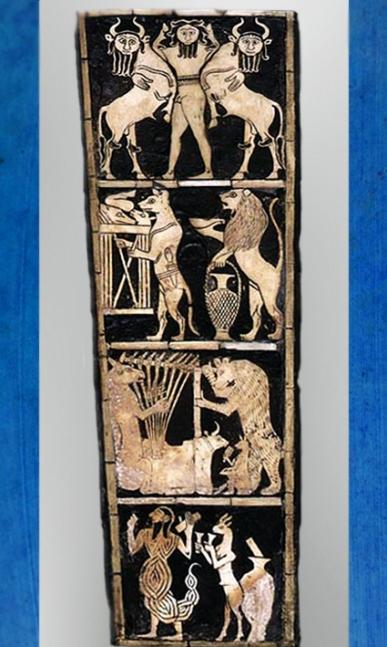 D'après une lyre et son décor incrusté, Maître des Animaux, tombes royales d'Ur, vers 2600-2500 avjc, Irak actuel, Mésopotamie. (Marsailly/Blogostelle)
