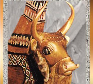 D'après la lyre d'or, taureau, reine Puabi, vers 2500 avjc, tombes royales d'Ur, période des dynasties archaïques sumériennes, Ur, Irak actuel, Mésopotamie. (Marsailly/Blogostelle)