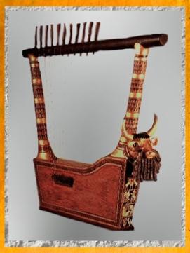 D'après la lyre d'or, reine Puabi, vers 2500 avjc, tombes royales d'Ur, actuel Irak, Mésopotamie. (Marsailly/Blogostelle)