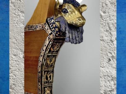 D'après une lyre en bois-Taureau, en haut l'Aigle de Ningirsu, Im-dugud, tombes d'Ur, vers 2500 avjc, actuel Irak, Mésopotamie. (Marsailly/Blogostelle)