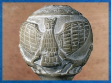 D'après Im-dugud, pierre, vers 2450-2400 avjc, Enannatum de Lagash, Girsu-Tello, actuel Irak, Mésopotamie. (Marsailly/Blogostelle)