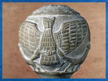 D'après Imdugud, pierre sculptée, vers 2450-2400 avjc, Enannatum de Lagash, Girsu-Tello, actuel Irak, Mésopotamie. (Marsailly/Blogostelle)