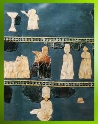 D'après l'Étendard aux scènes cultuelles, mosaïque en registres superposés, détail, fin IIIe millénaire avjc, Mari, Tell Hariri, actuelle Syrie. (Marsailly/Blogostelle)