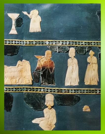 D'après l'Étendard aux scènes cultuelles, libations et offrandes, coquille, temple dit de Dagân ou centre administratif dit du Grand Prêtre, fin IIIe millénaire avjc, Mari, Tell Hariri, actuelle Syrie, Orient ancien. (Marsailly/Blogostelle)