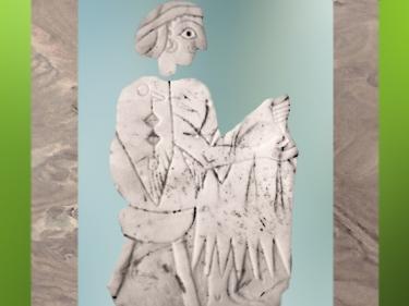 D'après une femme et son kaunakès de cérémonie, coquille, fin IIIe millénaire avjc, Mari, Tell Hariri, actuelle Syrie, Orient ancien. (Marsailly/Blogostelle)