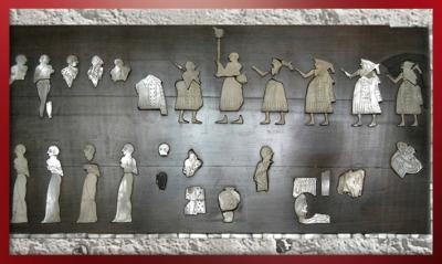 D'après l'Étendard de Mari, mosaïque incrustée, temple d'Ishtar, vers 2500-2300 ans avjc, Mari, Tell Hariri, actuelle Syrie,Orient ancien. (Marsailly/Blogostelle)