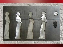 D'après l'Étendard de Mari, procession, détail, temple d'Ishtar, vers 2500-2300 ans avjc, Mari, Tell Hariri, actuelle Syrie. (Marsailly/Blogostelle)