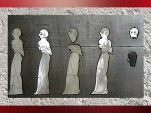 D'après l'Étendard de Mari, procession, détail, temple d'Ishtar, vers 2500-2300 ans avjc, Mari, Tell Hariri, actuelle Syrie, Orient ancien. (Marsailly/Blogostelle)