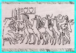 D'après le Banquet des Animaux, empreinte de sceau, tombes d'Ur, vers 2500-2600 avjc, actuel Irak, Mésopotamie. (Marsailly/Blogostelle)