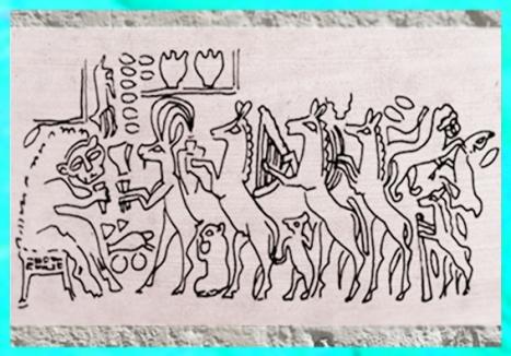 D'après le Banquet des Animaux, sceau, tombes d'Ur, vers 2500-2600 avjc, période des dynasties archaïques sumériennes, Ur, Irak actuel, Mésopotamie. (Marsailly/Blogostelle)