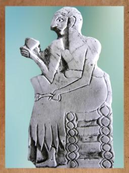 D'après le convive d'un banquet, coupe et rameau (de dattes?) à la main, coquille, temple de Ninni-Zaza, vers 2500-2300 ans avjc, Mari, Tell Hariri, actuelle Syrie, Orient ancien. (Marsailly/Blogostelle)