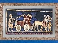 D'après l'Étendard d'Ur, char de parade, détail, vers 2500-2300 ans avjc, actuel Irak, Mésopotamie. (Marsailly/Blogostelle)