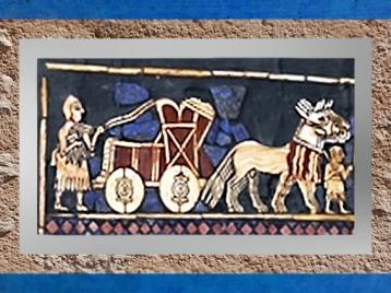 D'après un char de parade, Étendard d'Ur, détail, vers 2500-2300 ans avjc, actuel Irak, Mésopotamie. (Marsailly/Blogostelle)