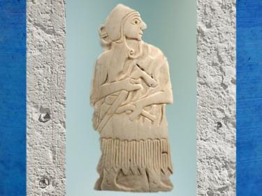 D'après un guerrier armé d'une petite hache, coquille gravée, temple d'Ishtar, vers 2500-2300 ans avjc, Mari, Tell Hariri, actuelle Syrie, Orient ancien. (Marsailly/Blogostelle)